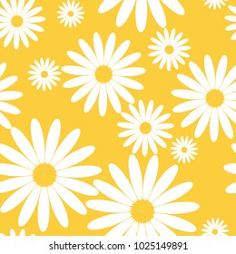 White daisies seamless vector pattern on a yellow background. Daisy in flat design. Tiny flowers seamless pattern.