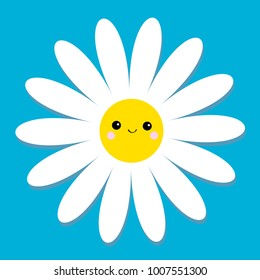 White daisy chamomile with face head. Cute flower plant collection. Love card. Cute cartoon smiling character. Camomile icon Growing concept. Flat design. Blue background. Vector illustration