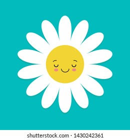White daisy chamomile with face head. Cute flower plant collection. Love card. Camomile icon. Cute cartoon smiling character. Growing concept. Flat design. Blue background.