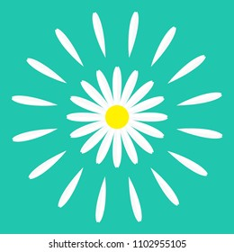White daisy chamomile flower round icon. Cute plant collection. Camomile petal round circle. Love card. Growing concept. Flat design. Green background. Isolated. Vector illustration