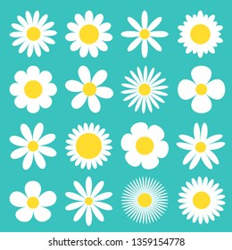 White daisy chamomile icon. Camomile super big set. Cute round flower head plant collection. Love card symbol. Growing concept. Flat design. Green background. Isolated. Vector illustration