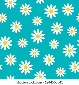 White daisy chamomile icon. Cute flower plant collection. Growing concept. Seamless Pattern Wrapping paper, textile template.