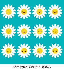 White daisy chamomile icon emoji set set. Funny kawaii cartoon characters. Emotion collection.