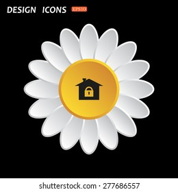 White daisy flower on a black background. House, access is closed, locked. icon. vector design