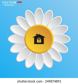 White daisy on a blue background. House, access is closed, locked,  vector illustration, EPS 10