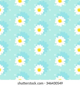 White daisy seamless pattern .Daisy field. Flower chain