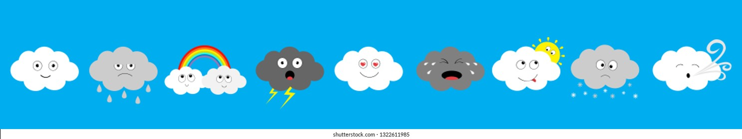White dark cloud emoji icon set line. Fluffy clouds. Sun, rainbow, wind, rain drop, thunderbolt, storm lightning. Cute cartoon cloudscape. Different emotion Flat design Blues sky background Vector