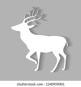 White Dear vector with shadow gray background.Decoration of christmas