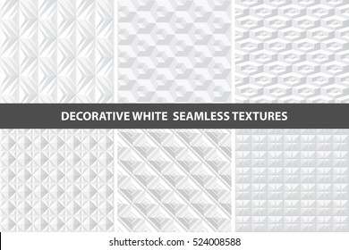 White decorative seamless 3d textures. Geometric vector set.