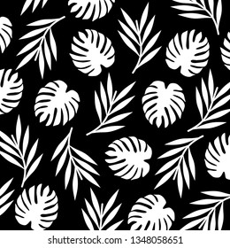 White decorative tropical leaves. Palm, monstera leaf. Vector illustration.