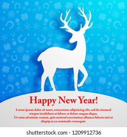 White deer silhouette on blue new year background flat vector illustration
