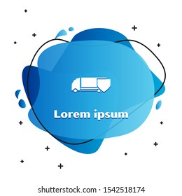 White Delivery cargo truck with shield icon isolated on white background. Insurance concept. Security, safety, protection, protect concept. Abstract banner with liquid shapes. Vector Illustration