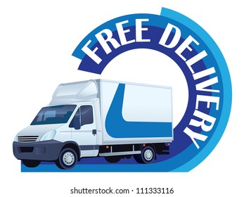 White delivery truck in a sign free delivery