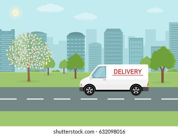 White delivery van on city background. Product goods shipping transport. Fast service truck