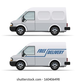 White delivery van realistic vector icon isolated on white background.