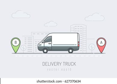 White delivery van vehicle traveling route with red and green location marker in the city . Vector illustration in line art drawing style