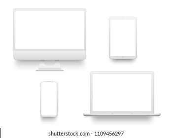 White desktop computer display screen smartphone tablet portable notebook or laptop. Outline mockup electronics devices phone monitor lines realistic simple isolated 3d vector set