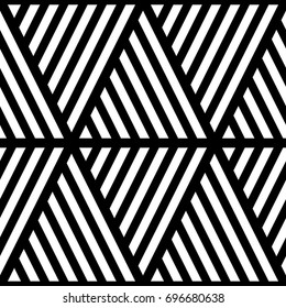 White diagonal strokes on black background. Seamless surface pattern design with linear ornament. Slanted lines wallpaper. Hash stroke motif. Digital paper with angled stripes for print. Vector shapes