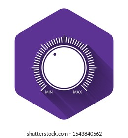 White Dial knob level technology settings icon isolated with long shadow. Volume button, sound control, music knob with number scale, analog regulator. Purple hexagon button. Vector Illustration