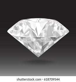 White diamond on black background. Realistic vector