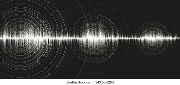 White Digital Sound Wave Low and Hight richter scale with Circle Vibration on Black Background,technology and earthquake wave  diagram concept,design for music studio and science,Vector Illustration.