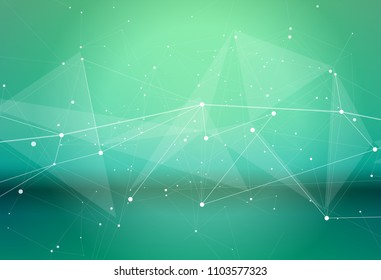 a white digital wave of dots, lines and triangles on a cold green background as a high-tech metaphor in medicine, science or the environment, biotechnology, health and biometrics