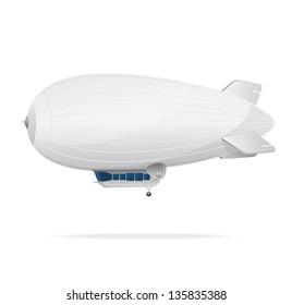 White dirigible balloon. Vector illustration