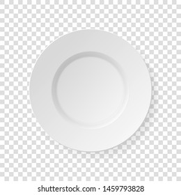 White dish plate. Kitchen dishes for food isolated on transparent background. White kitchen appliances utensils for eating.