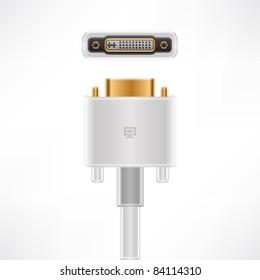White Display Connector plug & socket