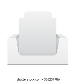 White Display Holder Box POS POI Cardboard Blank Empty, Front View. Products On White Background Isolated. Ready For Your Design. Mockup Product Packing. Vector EPS10