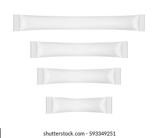White disposable packaging for snacks, food, sugar and spices. Sachets for medicines