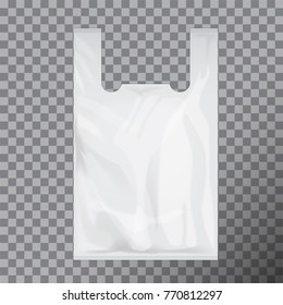White Disposable T-Shirt Plastic Bag Package. Vector Illustration Isolated Transparent Background. Mock Up Template for your design