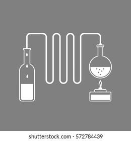 White distillation kit vector icon on grey background