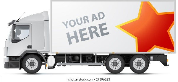 White distribution truck design template. VECTOR, very detailed, no gradient mesh (except shadow)!