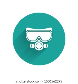 White Diving mask icon isolated with long shadow. Extreme sport. Sport equipment. Green circle button. Vector Illustration