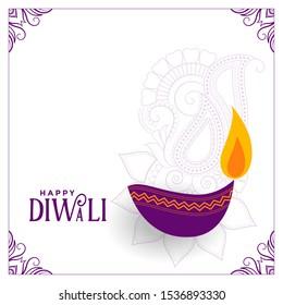 white diwali background with purple diya design