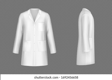 White doctor coat, medical uniform isolated on transparent background. Vector realistic mock up of lab costume front and side view. Clothes for medicine profession, nurse suit, physician robe