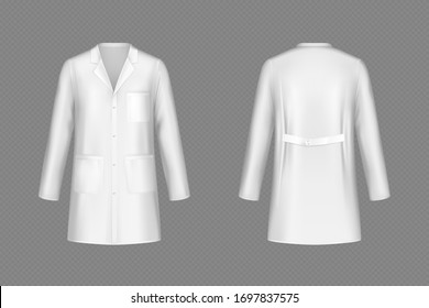 White doctor coat, medical uniform isolated on transparent background. Vector realistic mock up of lab costume front and back view. Clothes for medicine profession, nurse suit, physician robe