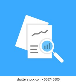 white document auditing like assessment. concept of fax, seo, scrutiny, annual evaluation forecast page, solution, chart, analytics. flat style trend modern logotype graphic design on blue background