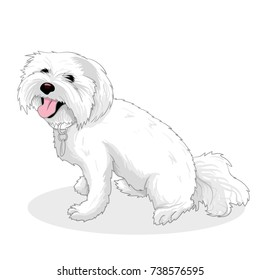 White dog hand drawing illustration