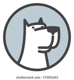 White dog head label. Vector logo template.