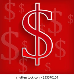 White dollar symbols on red background - vector illustration