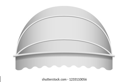 White dome awning mockup. Realistic illustration of white dome awning vector mockup for web design isolated on white background