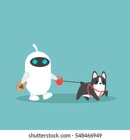White domestic robot walking the dog / flat editable vector illustration