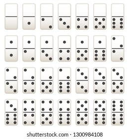 White Dominoes Complete Set Vector Icon Illustration