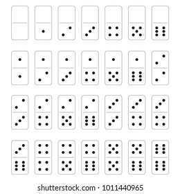 white dominoes on a white background in a flat style set