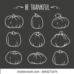 White doodle Autumn pumpkin icon set. Linear sign Thanksgiving and Halloween, season crop capacity. Contour template different shape gourd. Linear style pictogram. Isolated on dark vector illustration