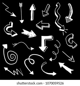 White doodle vector arrows on black background