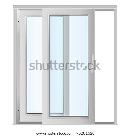 White Doors Glass Panels Stock Vector Royalty Free 95201620