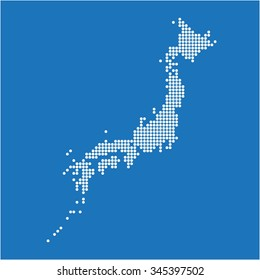 White dot Japan map on blue background. Vector illustration.